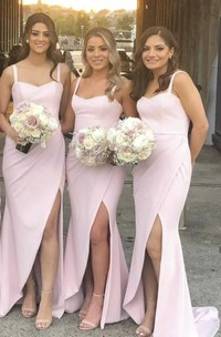 Front Split Simple Sweetheart Trumpt Bridesmaid Dress With Straps And Ruching