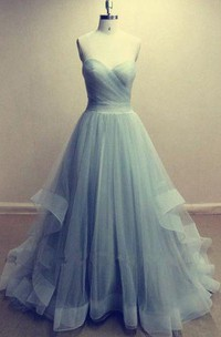 Sweetheart A-line Floor-length Organza Dress with Ruffles