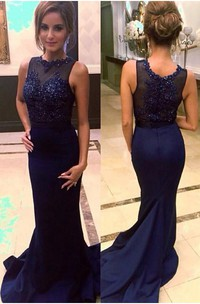Sexy Beadings Mermaid Illusion Evening Dress 2018 Sweep Train Sleeveless