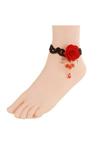 Fashion Black Lace Anklet Red Rose Flower Female Anklet