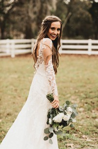 Brilliant Lace Bohemian Deep-V Back Cathedral Train Wedding Dress