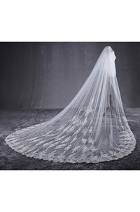 New Ethereal Cathedral Tulle Wedding Veil with Lace Appliques