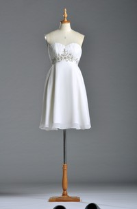 Sweetheart Short Layered Chiffon Dress With Ruchings and Beadings