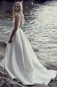Satin A-line Ballgown Wedding Dress With Plunging V-neck And Open Back