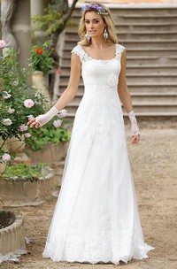 A-Line Floor-Length Cap-Sleeve Square-Neck Lace Wedding Dress With Appliques And Illusion
