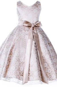 Sleeveless V-neck A-line Lace Flower Girl Dress With Bow Sash
