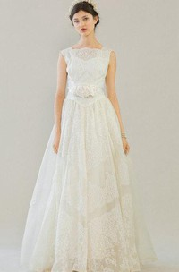 Jewel Neck Sleeveless A-Line Lace Wedding Dress With Flower