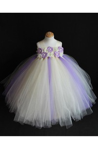 Ivory and Lavender Flower Girl Tulle Tutu Dress With Beading
