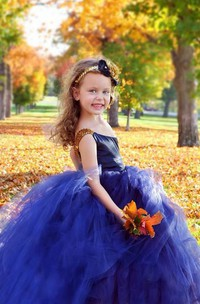 Flower Girl Navy And Gold Nautical One Shoulder Tulle Flower Girl Dress