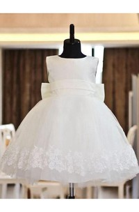 A-line Princess Scoop Lace Sleeveless Floor-length Organza Flower Girl Dresses