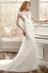 Long-Sleeve Sheath Wedding Dress With Brush Train And Back Draping