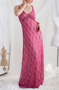 Lace Maternity Dress With Beading&Broach