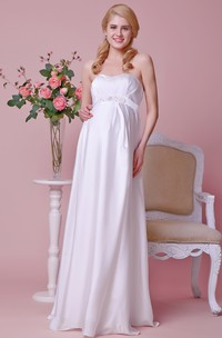 Strapless A-line Chiffon Maternity Wedding Dress With Empire Beading Waist