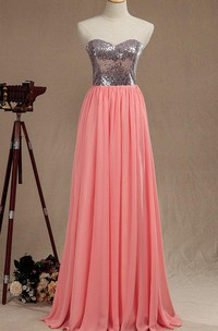 Long Sweetheart Chiffon&Satin Dress With Sequins