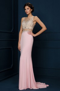 Sheath Appliqued Sleeveless Bateau Neck Chiffon Evening Dress