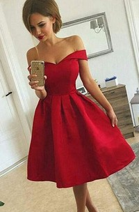 A-line Off-the-shoulder Sleeveless Ruching Tea-length Satin Homecoming Dress