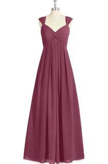 Empire V-Neck Chiffon A-Line Long Dress With Pleats