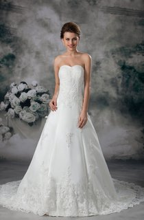 Sweetheart Lace A-Line Gown with Beading and Brush Train