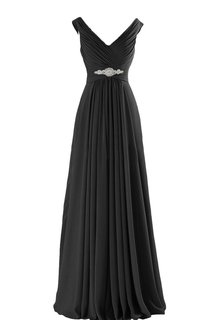 V-neck A-line Long Chiffon Gown With Pleats and Beadings