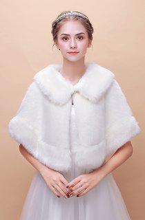 Bride Wedding Shawl Winter Warm Korean Fur Collar Cape Cloak