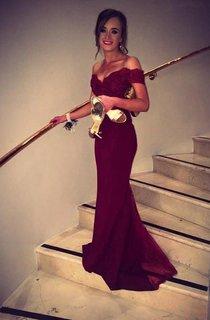 Trumpet Mermaid Off-the-Shoulder Sleeveless Lace Beading Sweep Brush Train Dresses