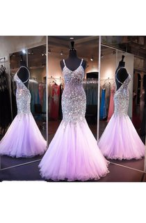 Sleeveless Tulle Sequins Dress with Spaghetti Straps