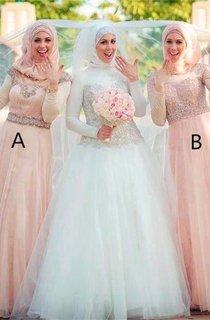 Elegant Long Sleeve Tulle Bridesmaid Dress 2016 High Neck Beadings