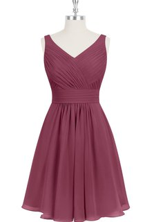 A-Line Sleeveless Chiffon Dress With V-Neck and Ruching