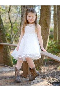 Sleeveless Jewel Neck A-line Pleated Lace Dress