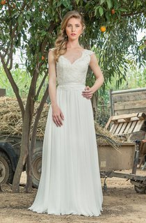 Plunged Cap-Sleeve Lace Chiffon Pleated Wedding Dress With Low-V Back