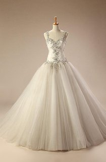 Straps Dropped Waist Long Tulle Wedding Dress With Appliques And Lace-Up Back