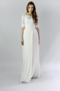 Jewel Button Back Sheath Chiffon Wedding Dress With Lace And Pleats