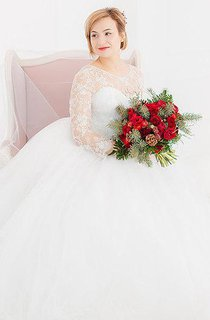 3-4 Length Sleeve Tulle Beaded Lace Wedding Dress