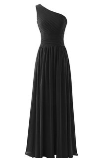 One-shoulder A-line Long Pleated Chiffon Gown