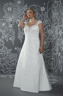 A-Line Long V-Neck Cap Satin Court Train Corset Back Beading Dress