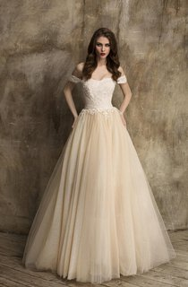 Unique Off-Shoulder A-Line Tulle Wedding Dress With Lace Bodice