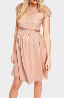 Cap-sleeved Bateau Neckline Pleated Short Chiffon Maternity Dress With Lace Bodice