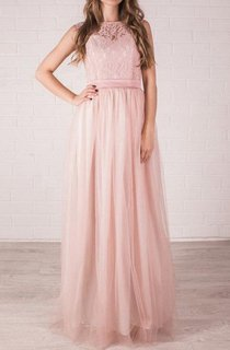 A-Line Jewel Sleeveless Tulle Dress With Lace Top