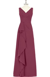 V-Neck A-Line Sleeveless Chiffon Dress With Side Draping