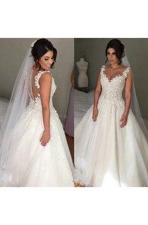 Elegant Tulle Lace Appliques 2016 Wedding Dress Button Zipper Back