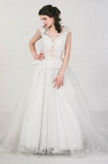 Tulle Beaded Floral Lace Backless Zipper Wedding Dress