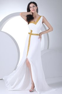 One-Shoulder Chiffon Front-Split Dress with Ruching and Sequins