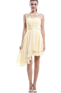 Short Asymmetrical Sweetheart Chiffon&Lace Dress