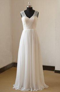 Destination A-Line V-Neck Sleeveless Chiffon Wedding Dress With Lace Bodice