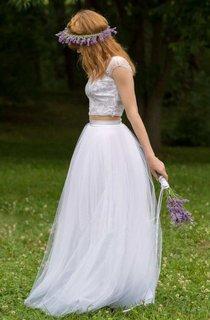 Floor-Length Tulle Satin Button Zipper Wedding Dress