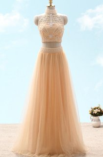 A-line High Neck Sleeveless Tulle Beading Lace Dress