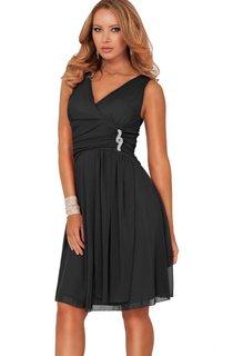 Sleeveless V-neck Knee-length Dress With Brooch