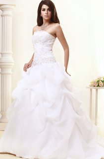 Strapless Pick-Up A-Line Gown With Ruching and Beading