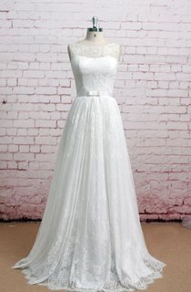 Exquisite Bateau Neck Soft Lace Wedding Dress Sleeveless With Pleats