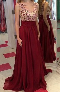 Gorgeous Burgundy Sleeveless 2016 Prom Dresses Long Chiffon Appliques Party Gowns